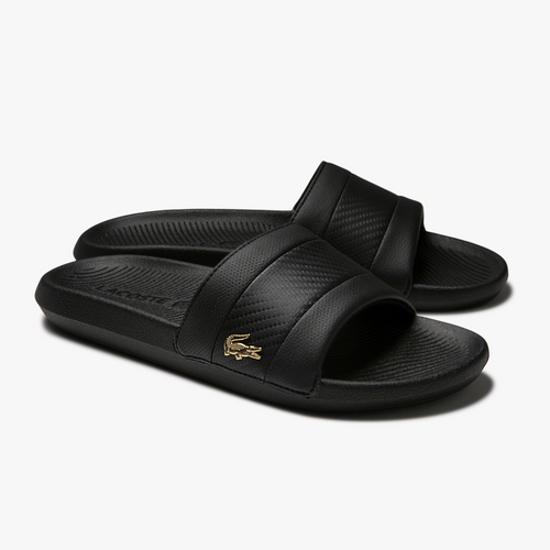 LACOSTE Men's Stripe Metallic Logo Slides (Black/Black)(7-40CMA0045-02H)
