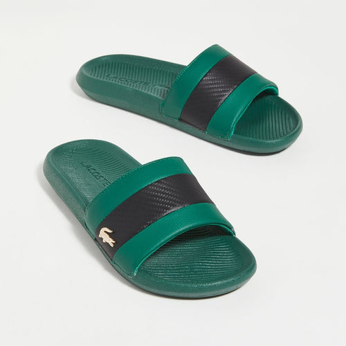 LACOSTE Men's Black Stripe Metallic Logo Slides (Green)(7-40CMA0045-GB1)