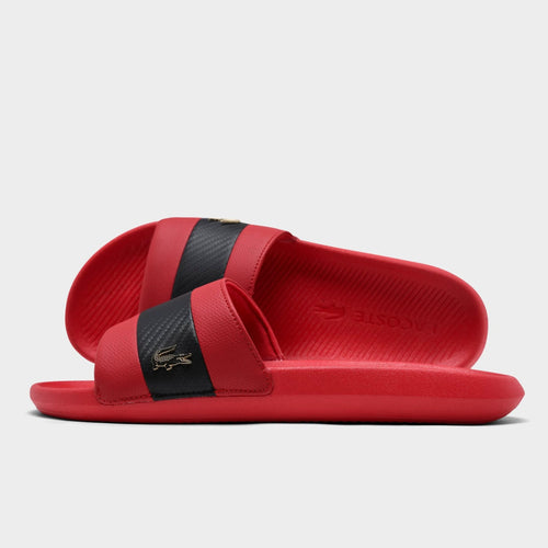 LACOSTE Men's Black Stripe Metallic Logo Slides (Red)(7-40CMA0045-DS9)