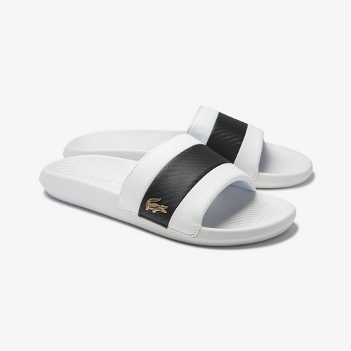LACOSTE Men's Black Stripe Metallic Logo Slides (White)(7-40CMA0045-147)