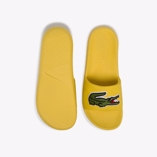 LACOSTE Men's Big Logo Classic Slides (Yellow / White)(7-39CMA0062-P1G)