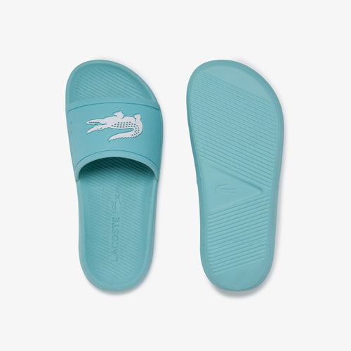 LACOSTE Women's Croco Slides (Light Green / White)(7-39CFA0004-2K8)