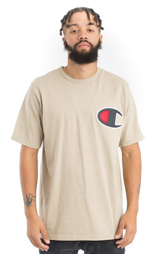 (PRE ORDER) Champion Heritage Large Logo Patch Tee (Khaki)(NO CASH ON DELIVERY - ALL ORDERS MUST BE PAID FULL IN ADVANCE)