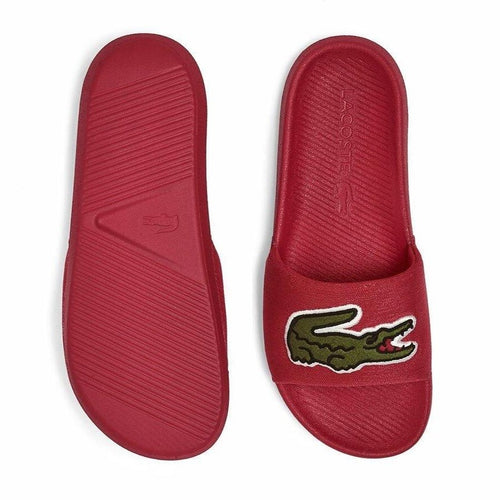 LACOSTE Men's Big Logo Textile Slides (Red)(7-41CMA0008-T2Q)