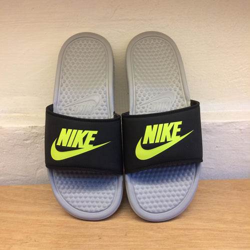Men's Nike Benassi JDI Slides (Black/Wolf Grey/Volt)(343880-027)