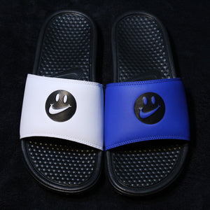 a5916334386e Nike Benassi Mismatch Smiley White and Blue (Limited Edition)(Trilogy Merch  Exclusive)