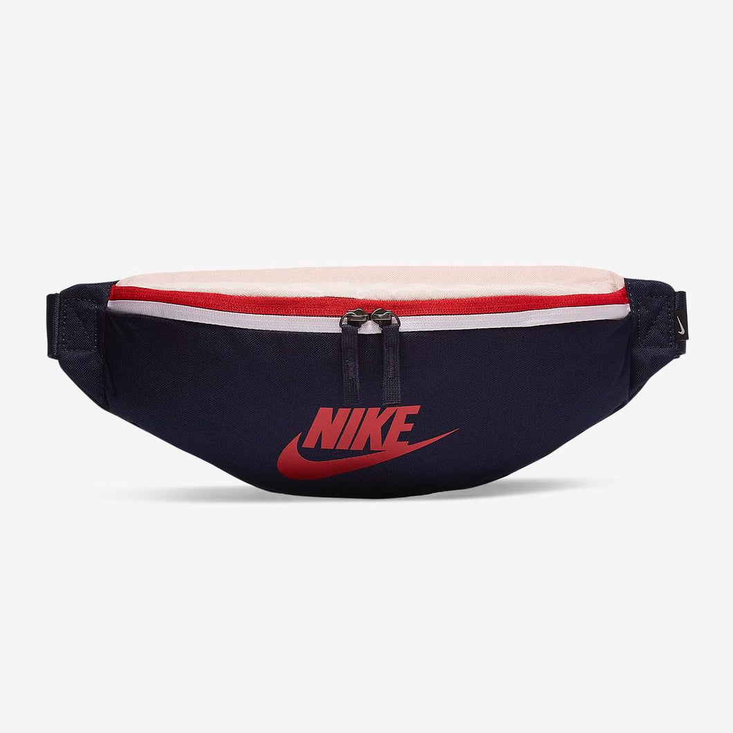 Nike Heritage Waist Bag Fanny Pack (Mystic Navy/Echo Pink/Gym Red)