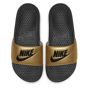 "Women's Nike Benassi ""Just Do It"" Slides (Black/Metallic Gold)(343881-014)"