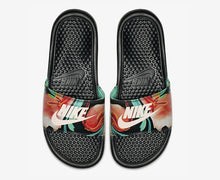 Women's Nike Benassi Just Do It Print (Black Crimson Tint Green Glow Floral)(618919-019)