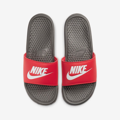 Men's Nike Benassi JDI Slides (Iron Grey/University Red/White)(343880-028)