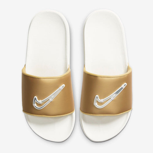Women's Nike Offcourt Slides Special Edition (Summit White/Metallic Gold/Fossil)(CT0624-100)