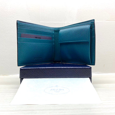 PRADA Saffiano Bi-Fold Leather Wallet w/ Coin Pocket (Baltic Blue / Teal)