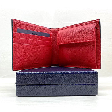 PRADA Saffiano Bi-Fold Leather Wallet w/ Coin Pocket (Black / Fiery Red)