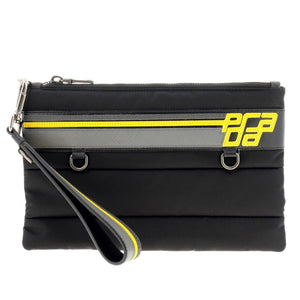 PRADA Racing Logo Nylon Pouch (Black/Marble Grey/Bright Yellow)