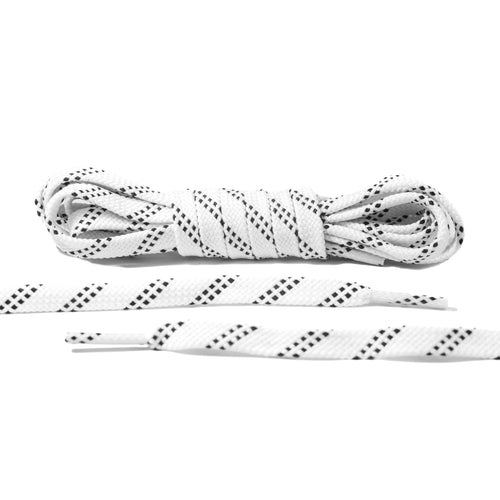 White and Black Stripe Flat Laces