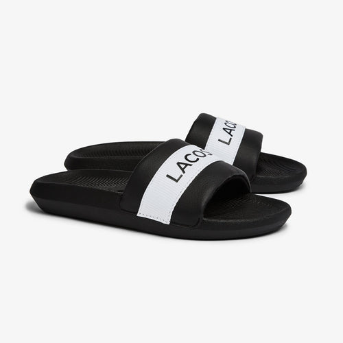 LACOSTE Women's Croco Text Print Slides (Black/White)(7-41CFA0011-312)