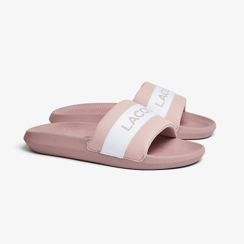 LACOSTE Women's Croco Text Print Slides (Light Pink/White)(7-41CFA0011-208)