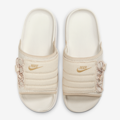 Women's Nike Asuna Premium Embroidered Logo Slides (Pearl White/Sail/Metallic Gold)(CI8799-200)