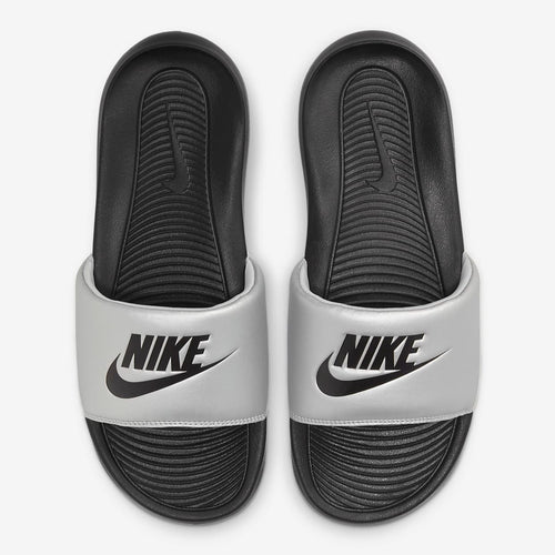 Women's Nike Victori One Slides (Black/Metallic Silver) (CN9677-006)