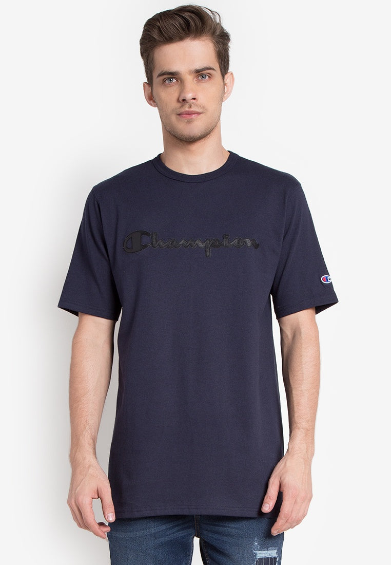 Champion Heritage Tee - Faux Leather Logo script (Navy)