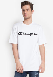 Champion Heritage Tee - Faux Leather Logo script (White)(on-hand)
