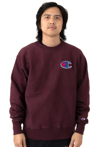 Champion Reverse Weave C Graphic Large Logo Crewneck (Beet Purple)(onhand)(american size)