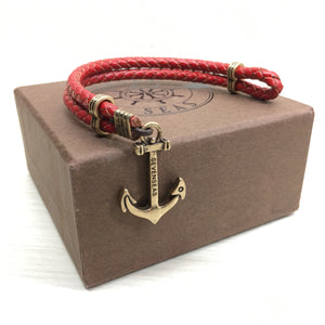 Seven Seas Anchor Dual-Laced Bracelet Red (Gold)