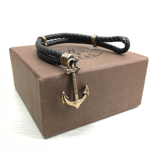 Seven Seas Anchor Dual-Laced Bracelet Black (Gold)