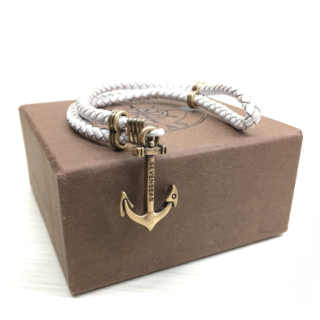 Seven Seas Anchor Dual-Laced Bracelet White (Gold)
