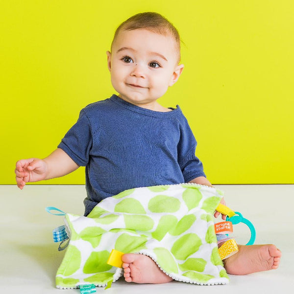 Bright Starts Little Taggies 2-Sided Blankie - Green Dots BS12304