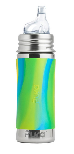 Pura PR250ISS/AS 250ml Insulated Feeding Bottle Sippy Spout & Sleeve - Aqua Swirl