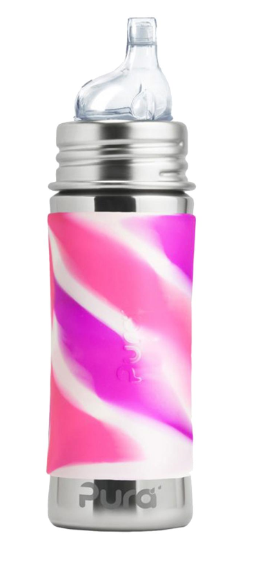 Pura PR250ISS/PKS 250ml Insulated Feeding Bottle Sippy Spout & Sleeve - Pink Swirl