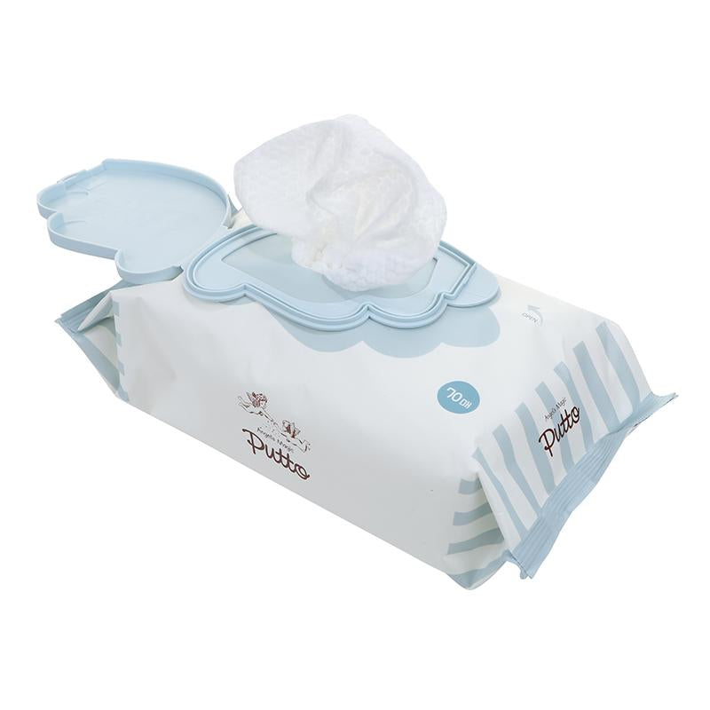 Putto Secret Premium Embossing 70gsm Baby Wet Tissue w/CAP 70 sheets x 6 Packs