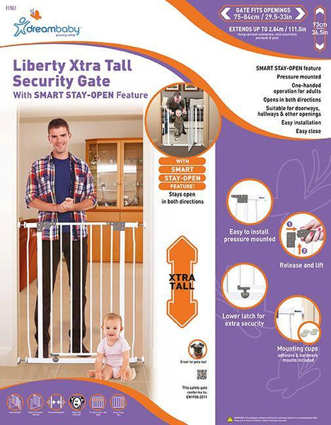 Dreambaby DB01961 (30) Liberty Tall Stay Open Gate - White