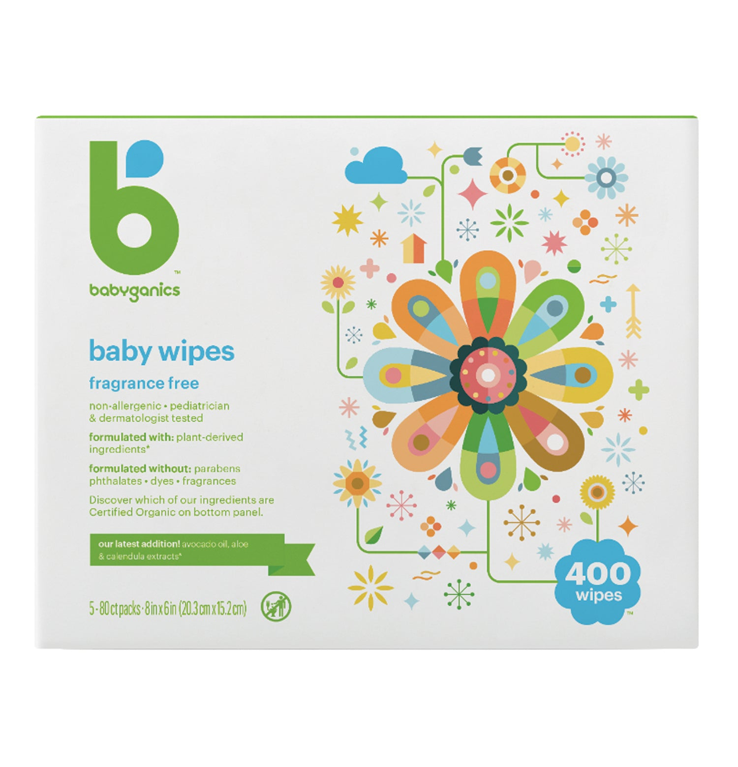 Babyganics Baby Wipes, 400 sheets