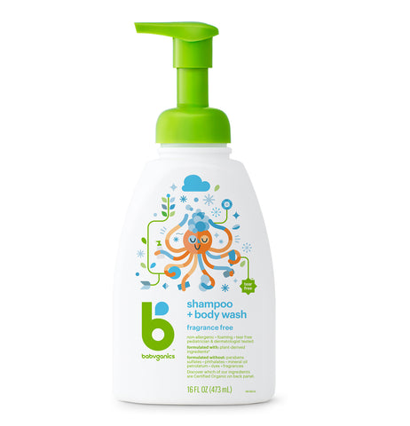 Babyganics Shampoo + Body Wash, 473ml, Fragrance Free