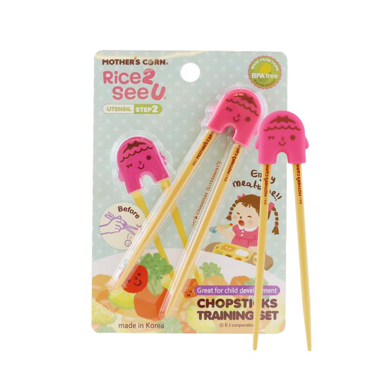 Mother's Corn Chopsticks Training Set Pink