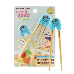 Mother's Corn Chopsticks Training Set Blue