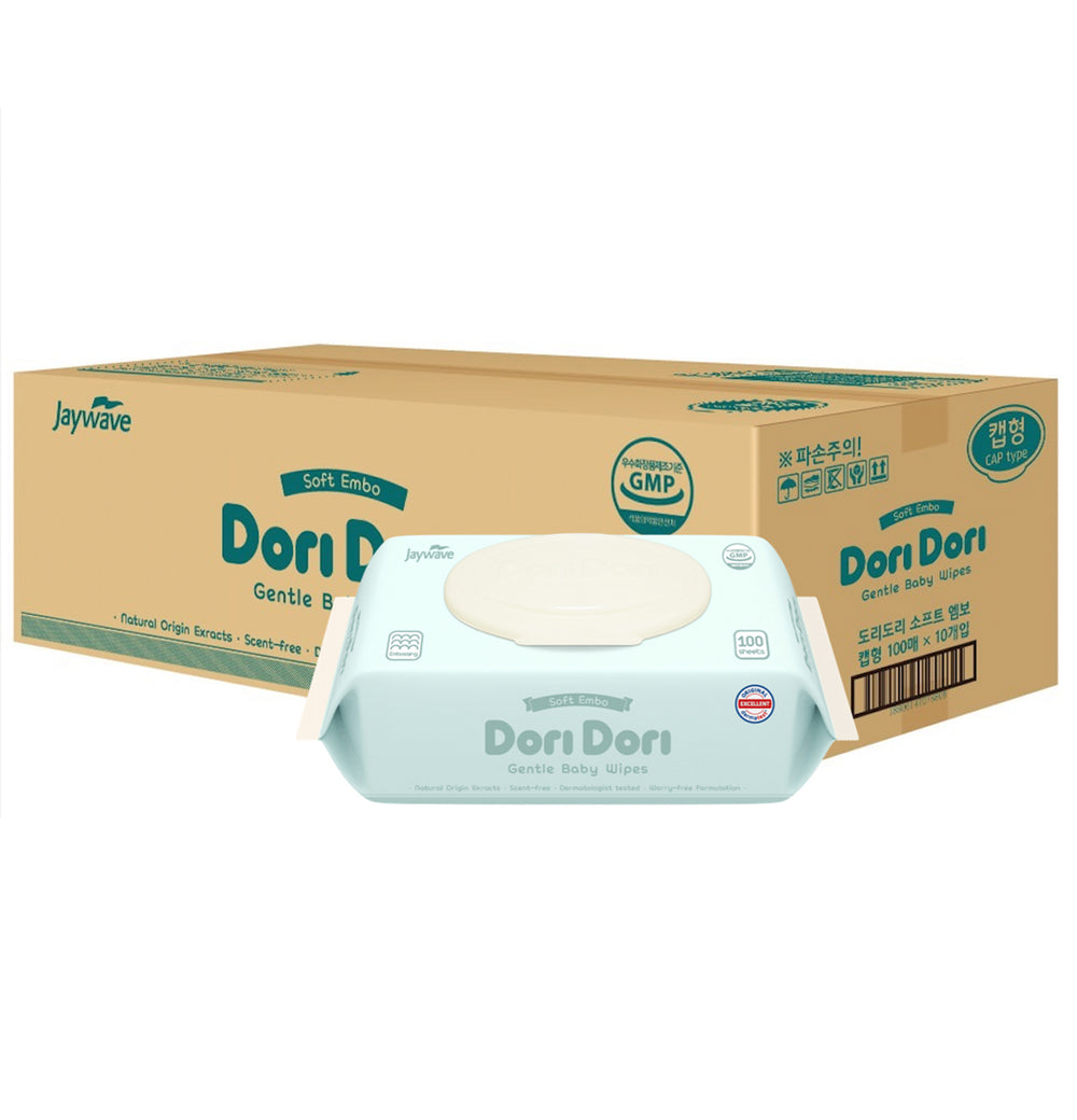 Dori Dori Embossing with Cap Wet Wipes (100 sheets x 10 packs) - Dori Dori