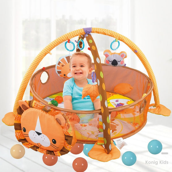 Konig Kids 3 in 1 Activity Play Gym N Ball Pit (include 30 Balls) - Lion