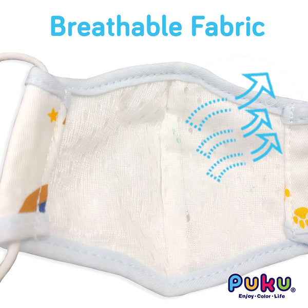 Puku 3-Ply Cotton Mouth Mask + Smart Filter (S/M/L)