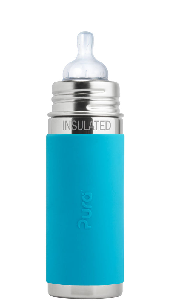Pura PR250ITM/A 250ml Insulated Feeding Bottle Med Teat & Sleeve - Aqua
