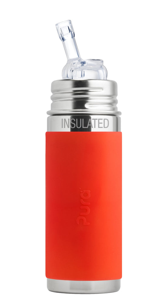 Pura PR250ISW/O 250ml Insulated Feeding Bottle Drinking Straw & Sleeve - Orange