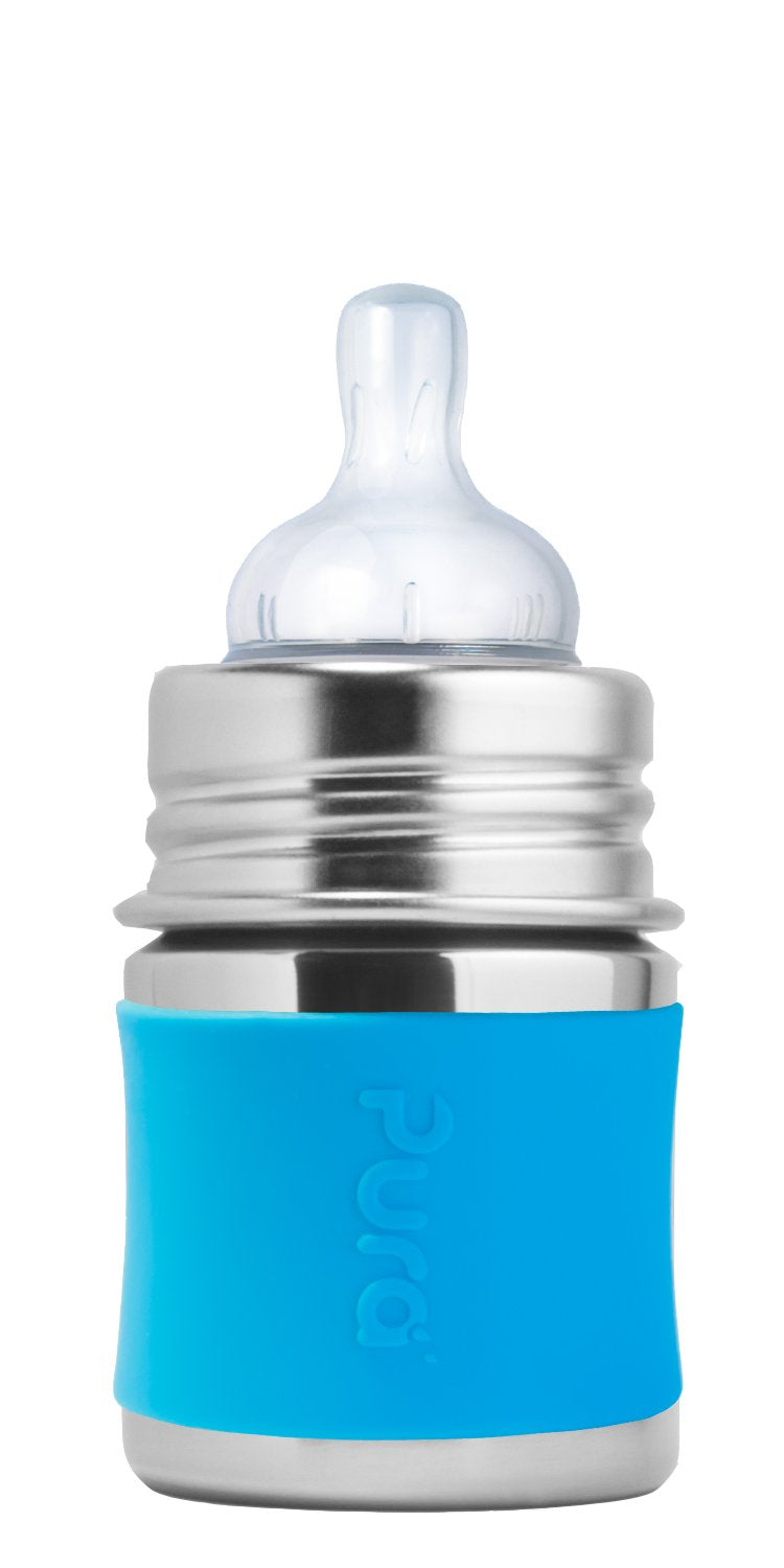 Pura PR150NTS/A 150ml Infant Feeding Bottle Slow Teat & Sleeve - Aqua