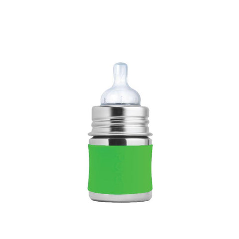 Pura PR150NTS/G 150ml Infant Feeding Bottle Slow Teat & Sleeve - Green
