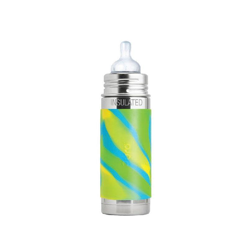 Pura PR250ITM/AS 250ml Insulated Feeding Bottle Med Teat & Sleeve - Aqua Swirl