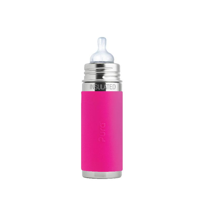 Pura PR250ITM/PK 250ml Insulated Feeding Bottle Med Teat & Sleeve - Pink