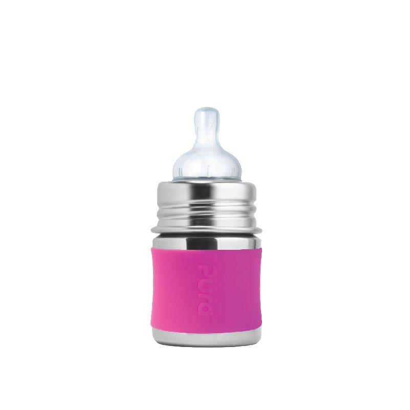 Pura PR150NTS/PK 150ml Infant Feeding Bottle Slow Teat & Sleeve - Pink