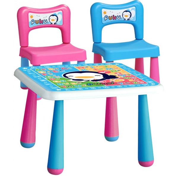 Puku Table (L) + 2 Chairs Set