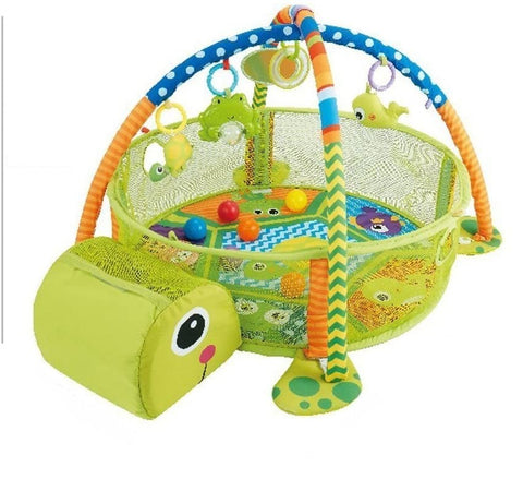 Konig Kids 3 in 1 Activity Play Gym N Ball Pit (include 30 Balls) - Tortoise